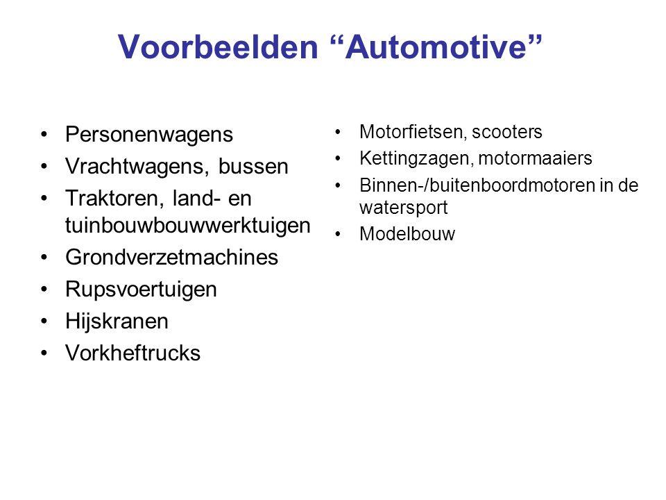 """Voorbeelden """"Automotive"""" •Personenwagens •Vrachtwagens, bussen •Traktoren, land- en tuinbouwbouwwerktuigen •Grondverzetmachines •Rupsvoertuigen •Hijsk"""