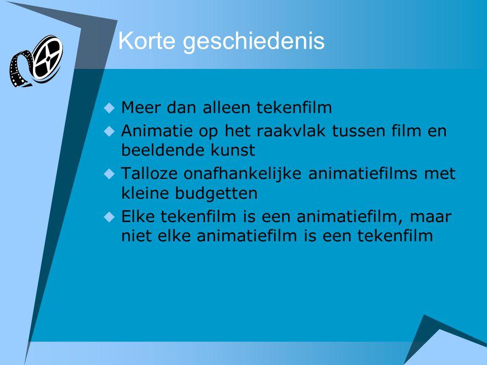 Korte geschiedenis  Meer dan alleen tekenfilm  Animatie op het raakvlak tussen film en beeldende kunst  Talloze onafhankelijke animatiefilms met kl