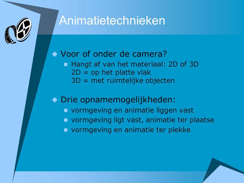 Animatietechnieken  Voor of onder de camera?  Hangt af van het materiaal: 2D of 3D 2D = op het platte vlak 3D = met ruimtelijke objecten  Drie opna