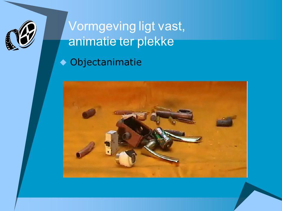  Objectanimatie Vormgeving ligt vast, animatie ter plekke