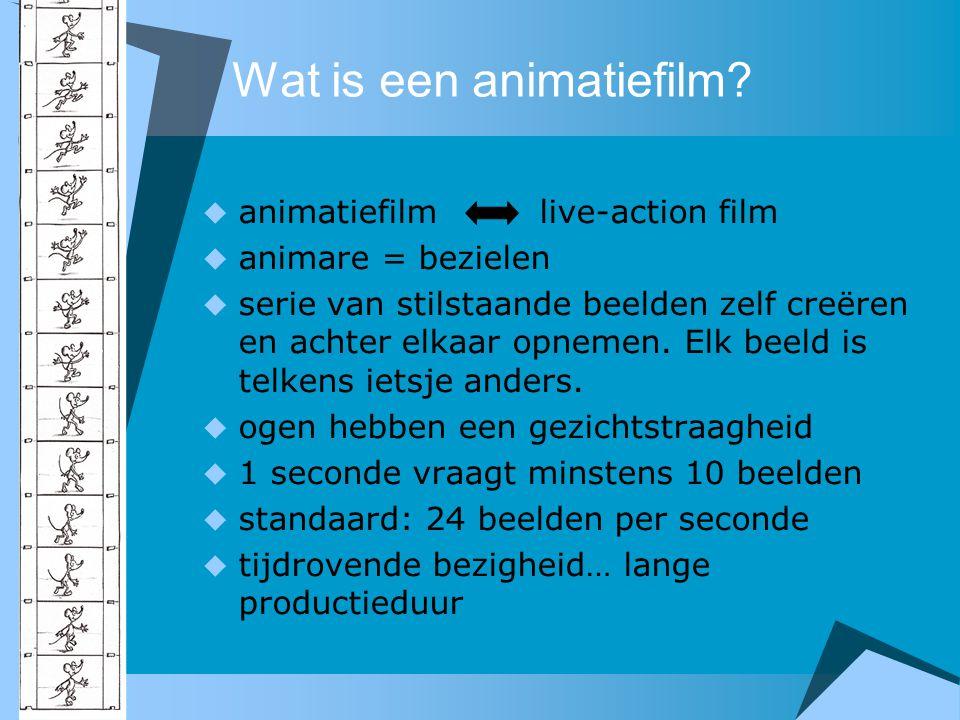 Wat is een animatiefilm?  animatiefilm live-action film  animare = bezielen  serie van stilstaande beelden zelf creëren en achter elkaar opnemen. E