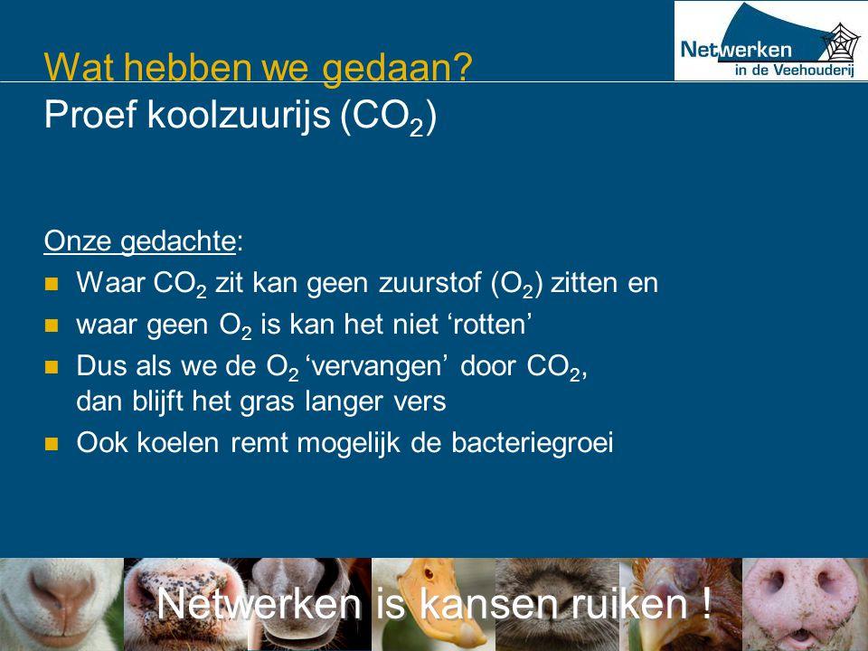 Netwerken is kansen ruiken ! Wat hebben we gedaan? Proef koolzuurijs (CO 2 ) Onze gedachte:  Waar CO 2 zit kan geen zuurstof (O 2 ) zitten en  waar