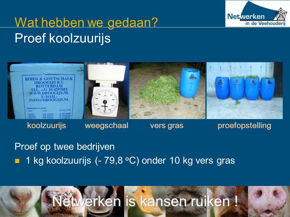 Netwerken is kansen ruiken ! Wat hebben we gedaan? Proef koolzuurijs Proef op twee bedrijven  1 kg koolzuurijs (- 79,8 o C) onder 10 kg vers gras koo