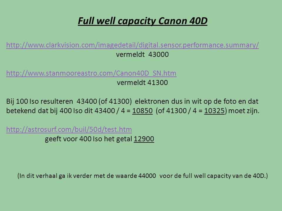 Full well capacity Canon 40D http://www.clarkvision.com/imagedetail/digital.sensor.performance.summary/ vermeldt 43000 http://www.stanmooreastro.com/C