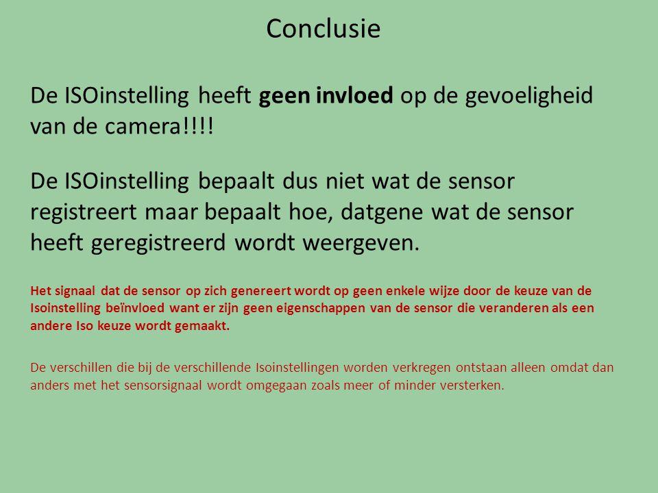 Conclusie De ISOinstelling heeft geen invloed op de gevoeligheid van de camera!!!! De ISOinstelling bepaalt dus niet wat de sensor registreert maar be