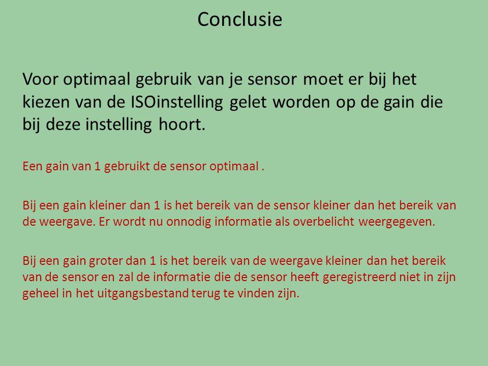 Conclusie Voor optimaal gebruik van je sensor moet er bij het kiezen van de ISOinstelling gelet worden op de gain die bij deze instelling hoort. Een g