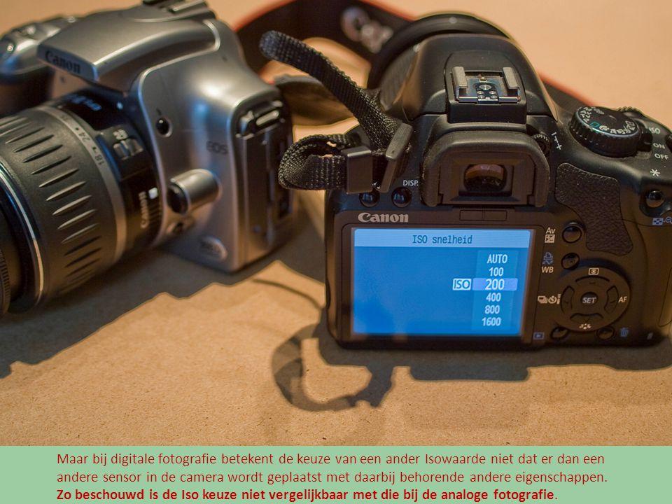 Maar bij digitale fotografie betekent de keuze van een ander Isowaarde niet dat er dan een andere sensor in de camera wordt geplaatst met daarbij beho