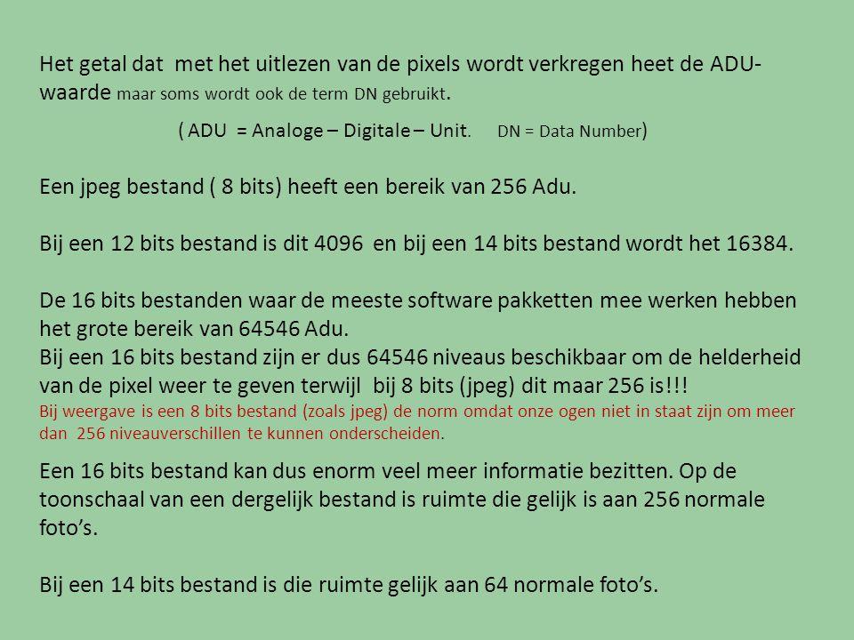 Het getal dat met het uitlezen van de pixels wordt verkregen heet de ADU- waarde maar soms wordt ook de term DN gebruikt. ( ADU = Analoge – Digitale –