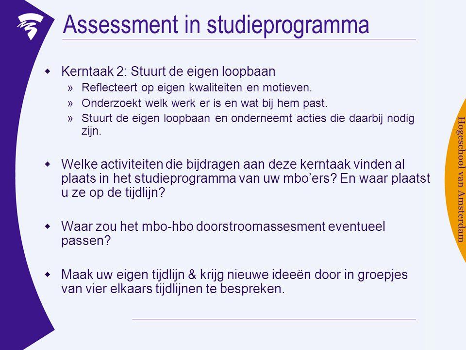 Assessment in studieprogramma  Kerntaak 2: Stuurt de eigen loopbaan »Reflecteert op eigen kwaliteiten en motieven. »Onderzoekt welk werk er is en wat
