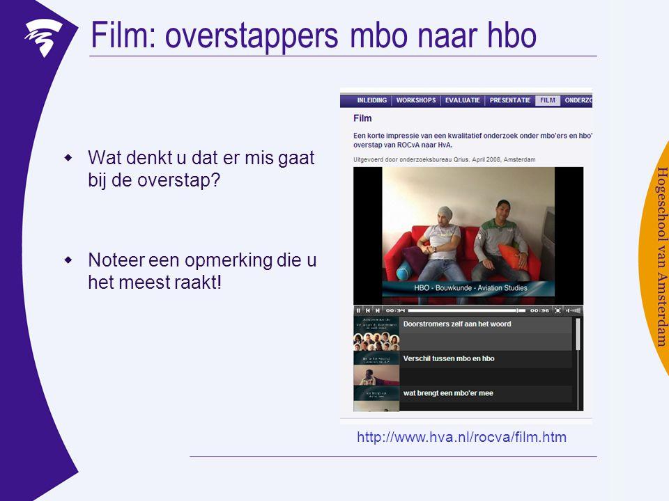 Film: overstappers mbo naar hbo  Wat denkt u dat er mis gaat bij de overstap?  Noteer een opmerking die u het meest raakt! http://www.hva.nl/rocva/f