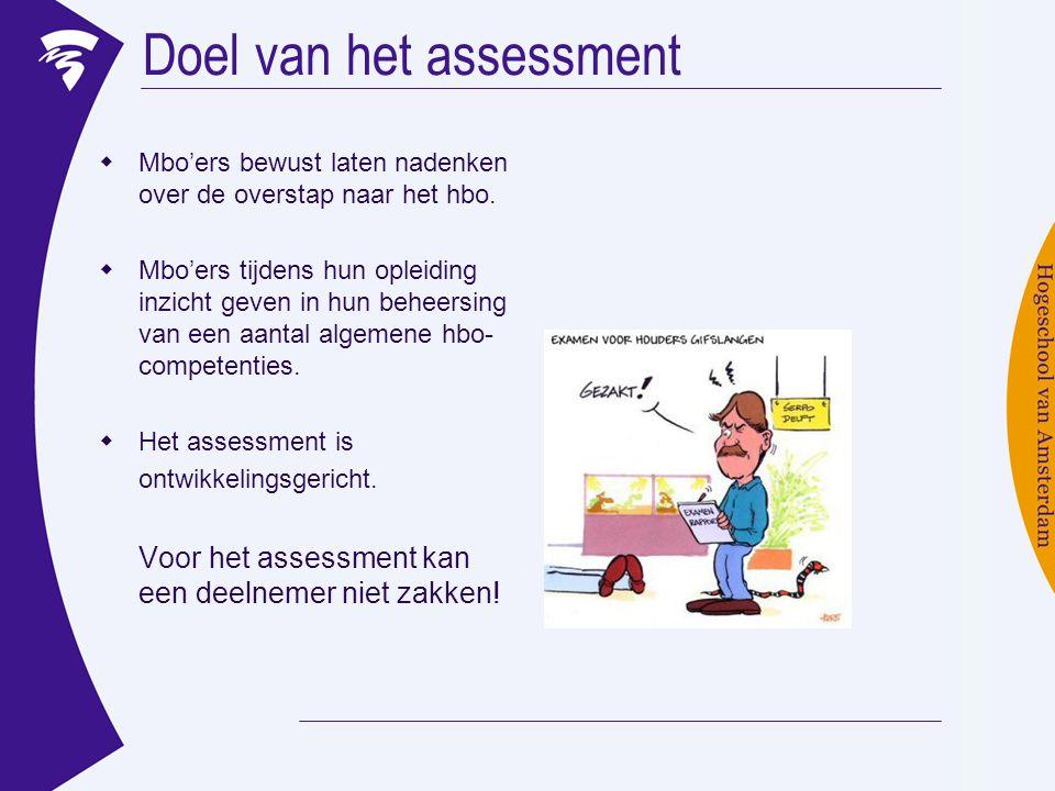 Doel van het assessment  Mbo'ers bewust laten nadenken over de overstap naar het hbo.  Mbo'ers tijdens hun opleiding inzicht geven in hun beheersing