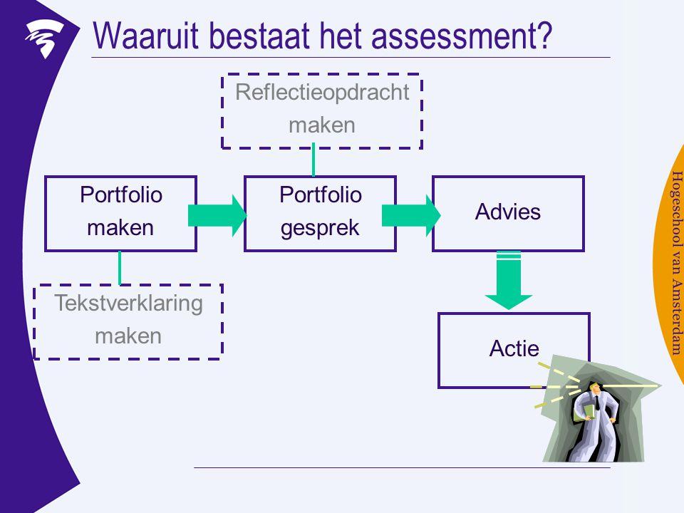 Waaruit bestaat het assessment? Portfolio gesprek Advies Actie Portfolio maken Tekstverklaring maken Reflectieopdracht maken