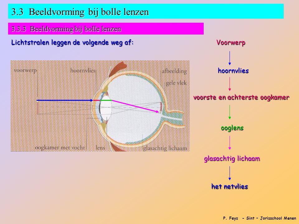 P. Feys - Sint – Jorisschool Menen 3.3 Beeldvorming bij bolle lenzen 3.3.3 Beeldvorming bij bolle lenzen Lichtstralen leggen de volgende weg af: Voorw
