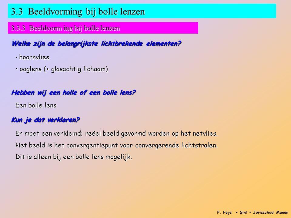 P. Feys - Sint – Jorisschool Menen 3.3 Beeldvorming bij bolle lenzen 3.3.3 Beeldvorm ing bij bolle lenzen Welke zijn de belangrijkste lichtbrekende el