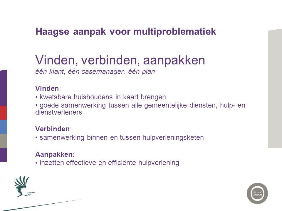 Haagse aanpak voor multiproblematiek Vinden, verbinden, aanpakken één klant, één casemanager, één plan Vinden: • kwetsbare huishoudens in kaart brenge