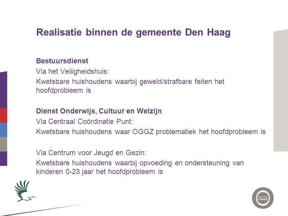 Realisatie binnen de gemeente Den Haag Bestuursdienst Via het Veiligheidshuis: Kwetsbare huishoudens waarbij geweld/strafbare feiten het hoofdprobleem