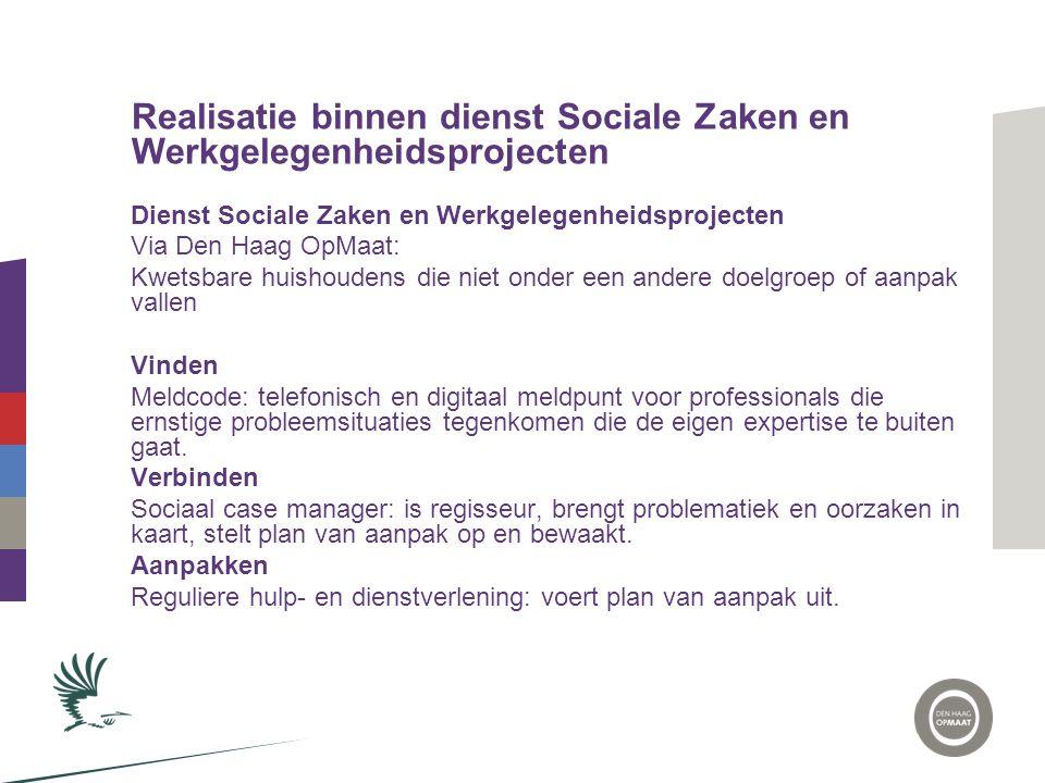 Realisatie binnen dienst Sociale Zaken en Werkgelegenheidsprojecten Dienst Sociale Zaken en Werkgelegenheidsprojecten Via Den Haag OpMaat: Kwetsbare h
