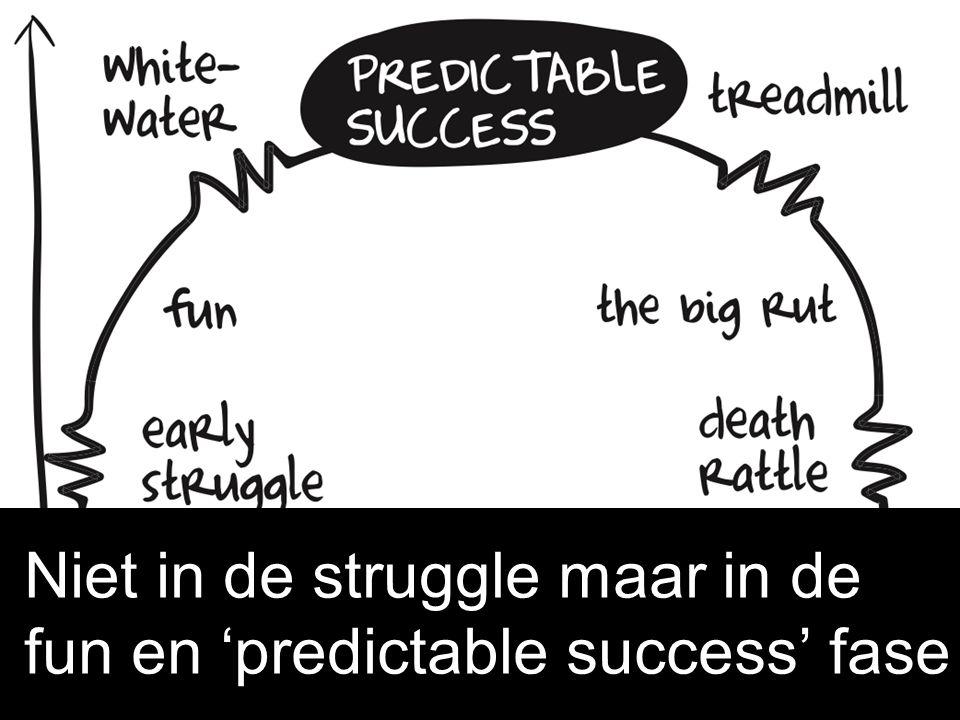 Niet in de struggle maar in de fun en 'predictable success' fase