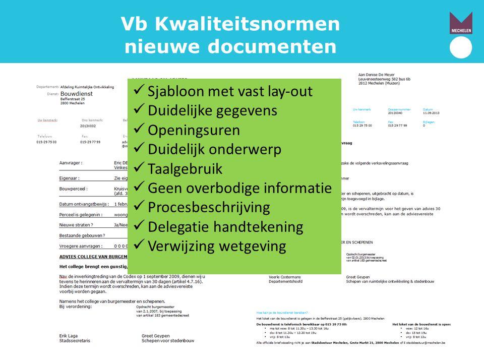 Vb Kwaliteitsnormen nieuwe documenten  Sjabloon met vast lay-out  Duidelijke gegevens  Openingsuren  Duidelijk onderwerp  Taalgebruik  Geen over