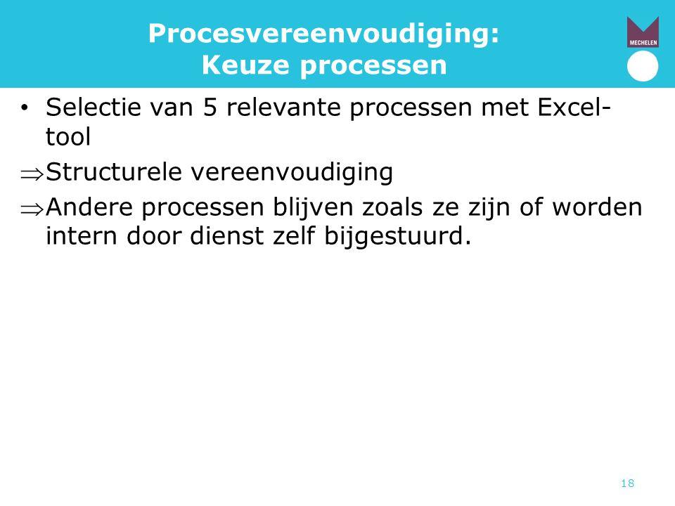 18 Procesvereenvoudiging: Keuze processen • Selectie van 5 relevante processen met Excel- tool Structurele vereenvoudiging Andere processen blijven