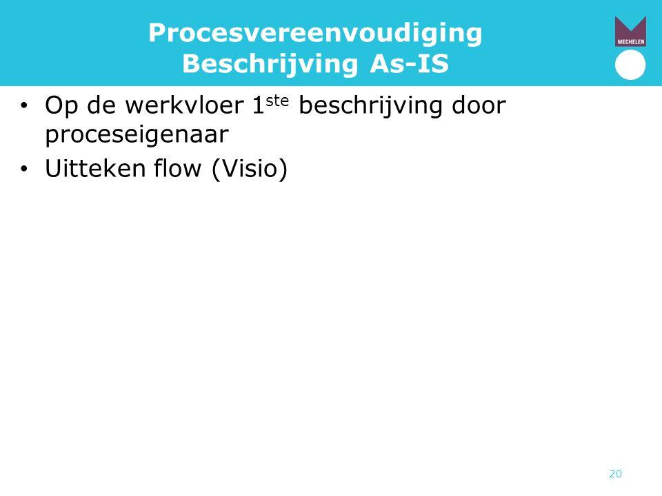 20 Procesvereenvoudiging Beschrijving As-IS • Op de werkvloer 1 ste beschrijving door proceseigenaar • Uitteken flow (Visio)