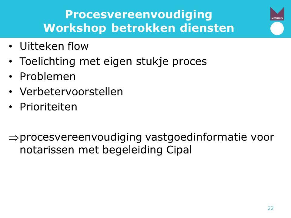 22 Procesvereenvoudiging Workshop betrokken diensten • Uitteken flow • Toelichting met eigen stukje proces • Problemen • Verbetervoorstellen • Priorit