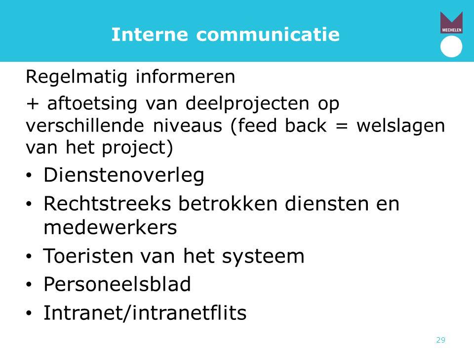 29 Interne communicatie Regelmatig informeren + aftoetsing van deelprojecten op verschillende niveaus (feed back = welslagen van het project) • Dienst