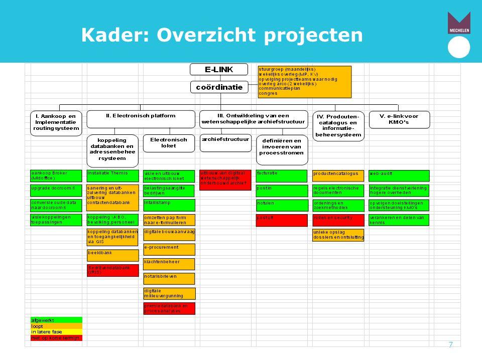 18 Procesvereenvoudiging: Keuze processen • Selectie van 5 relevante processen met Excel- tool Structurele vereenvoudiging Andere processen blijven zoals ze zijn of worden intern door dienst zelf bijgestuurd.
