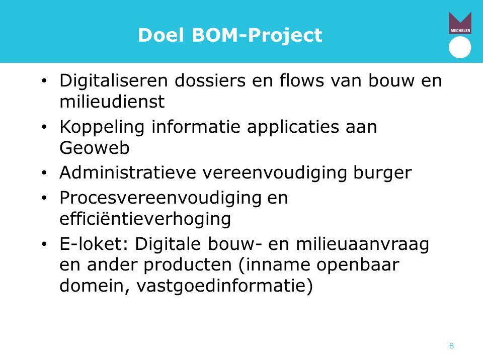 8 Doel BOM-Project • Digitaliseren dossiers en flows van bouw en milieudienst • Koppeling informatie applicaties aan Geoweb • Administratieve vereenvo