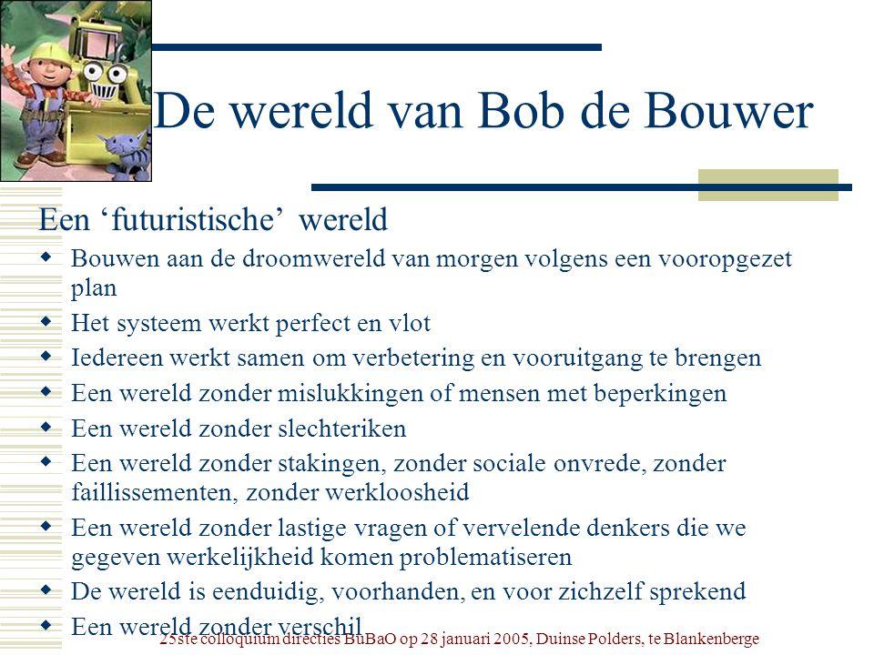 25ste colloquium directies BuBaO op 28 januari 2005, Duinse Polders, te Blankenberge De wereld van Bob de Bouwer Een 'futuristische' wereld  Bouwen a