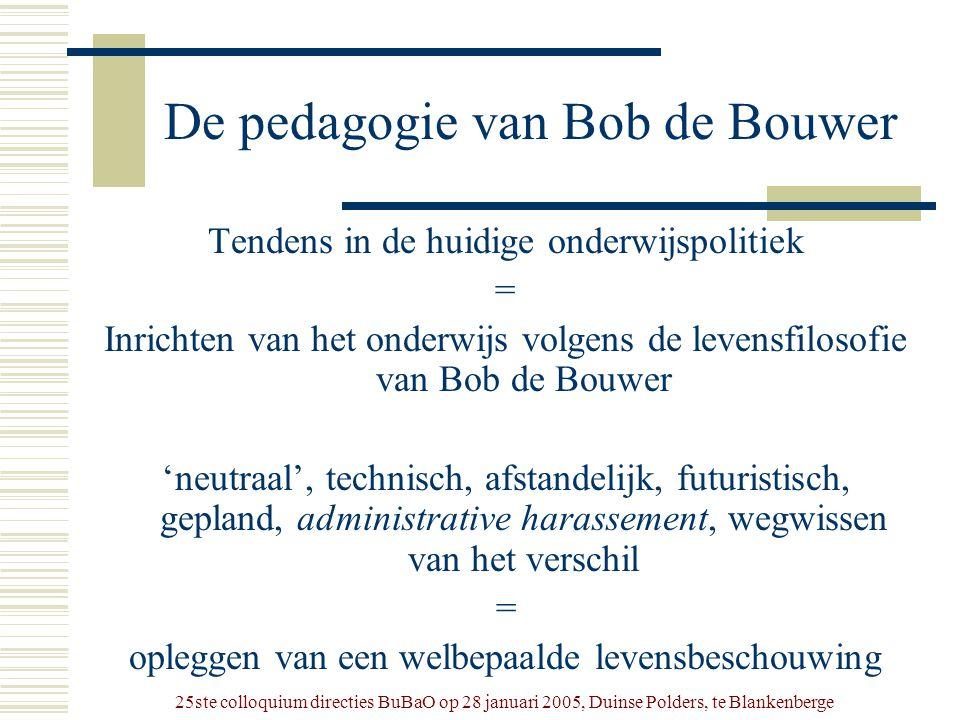 25ste colloquium directies BuBaO op 28 januari 2005, Duinse Polders, te Blankenberge De pedagogie van Bob de Bouwer Tendens in de huidige onderwijspol