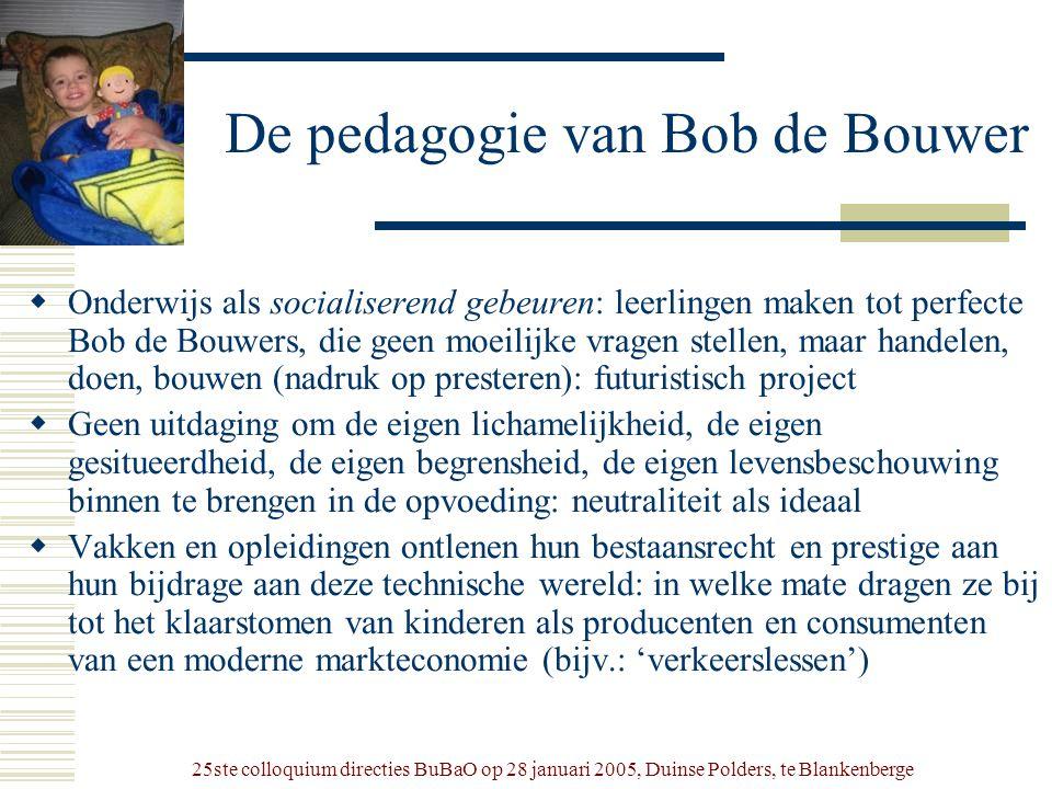 25ste colloquium directies BuBaO op 28 januari 2005, Duinse Polders, te Blankenberge De pedagogie van Bob de Bouwer  Onderwijs als socialiserend gebe