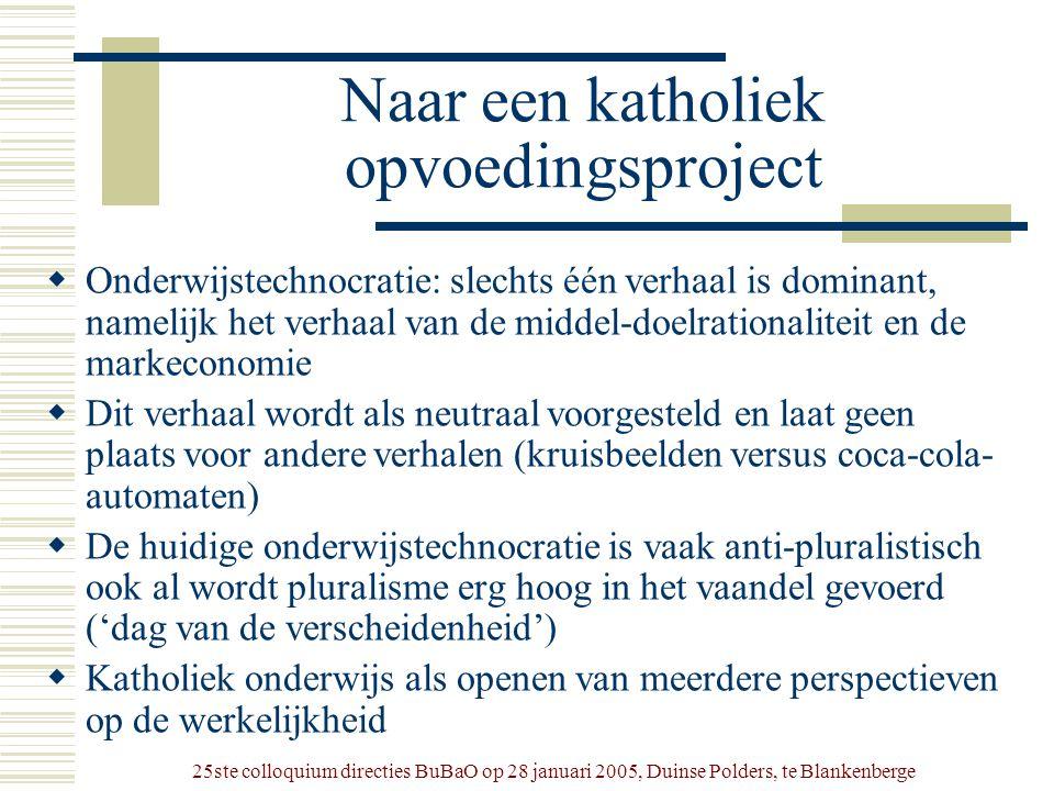 25ste colloquium directies BuBaO op 28 januari 2005, Duinse Polders, te Blankenberge Naar een katholiek opvoedingsproject  Onderwijstechnocratie: sle