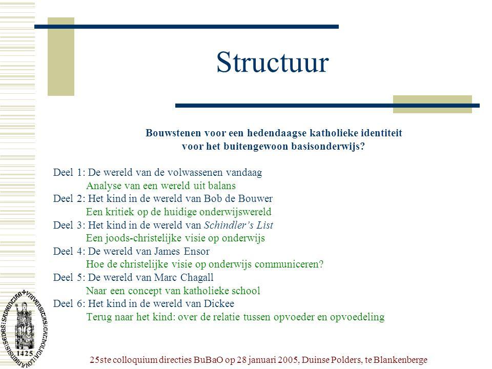 25ste colloquium directies BuBaO op 28 januari 2005, Duinse Polders, te Blankenberge Structuur Bouwstenen voor een hedendaagse katholieke identiteit v