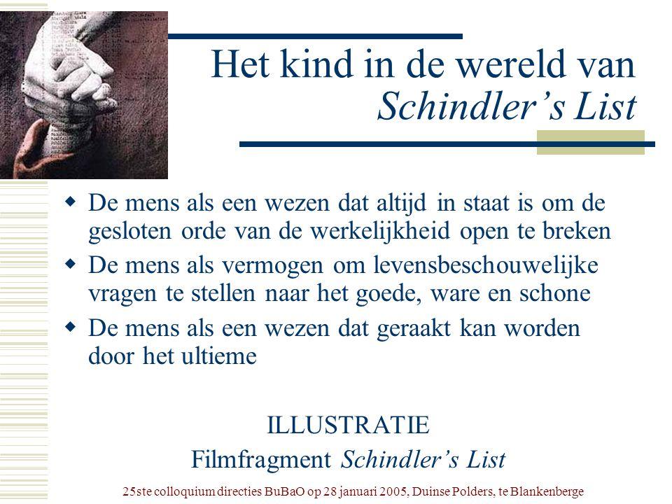 25ste colloquium directies BuBaO op 28 januari 2005, Duinse Polders, te Blankenberge Het kind in de wereld van Schindler's List  De mens als een weze