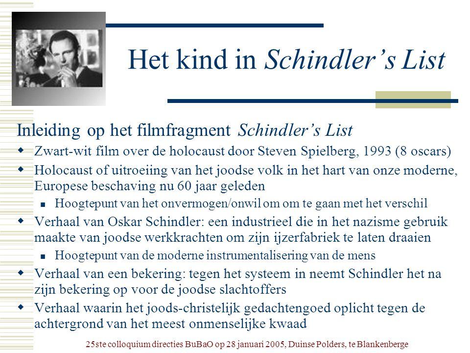 25ste colloquium directies BuBaO op 28 januari 2005, Duinse Polders, te Blankenberge Het kind in Schindler's List Inleiding op het filmfragment Schind