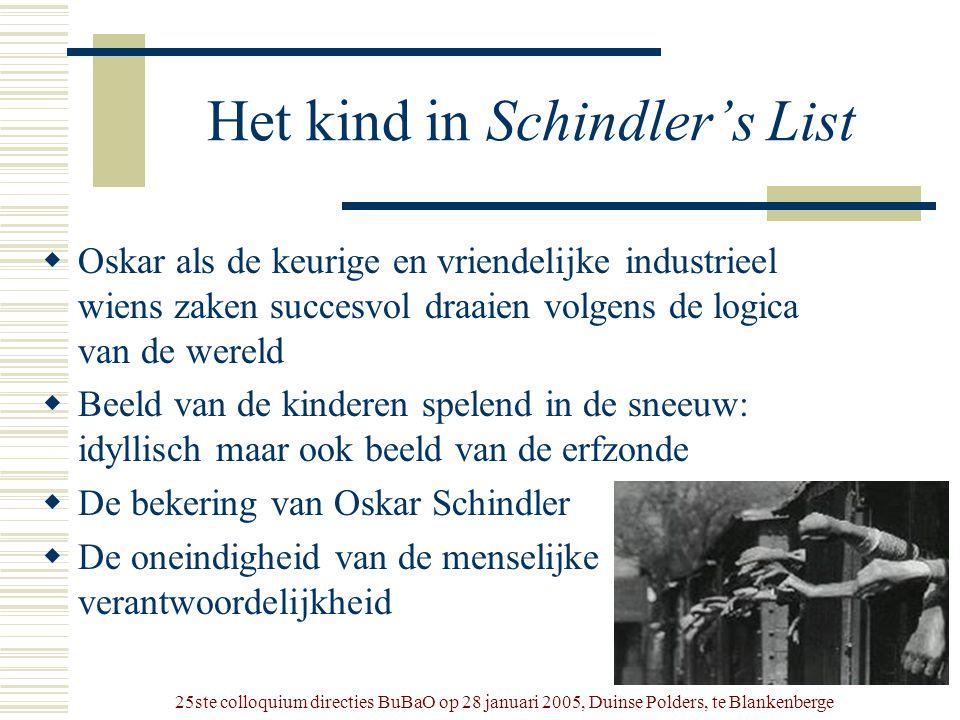 25ste colloquium directies BuBaO op 28 januari 2005, Duinse Polders, te Blankenberge Het kind in Schindler's List  Oskar als de keurige en vriendelij