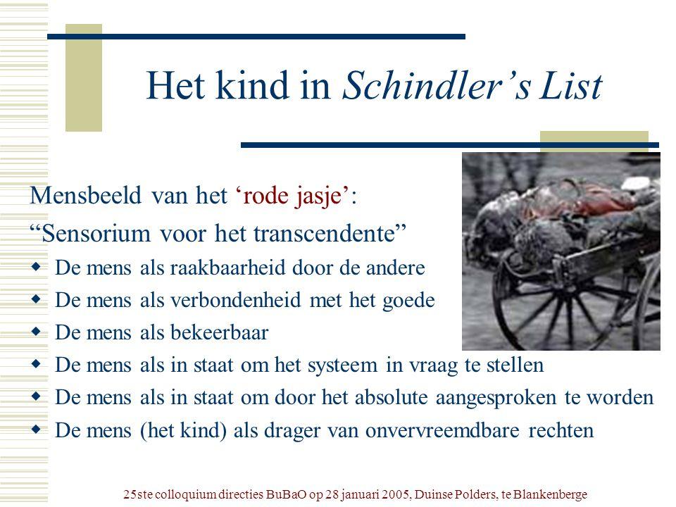 """25ste colloquium directies BuBaO op 28 januari 2005, Duinse Polders, te Blankenberge Het kind in Schindler's List Mensbeeld van het 'rode jasje': """"Sen"""