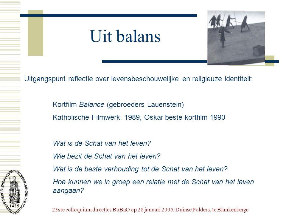 25ste colloquium directies BuBaO op 28 januari 2005, Duinse Polders, te Blankenberge Uit balans Uitgangspunt reflectie over levensbeschouwelijke en re