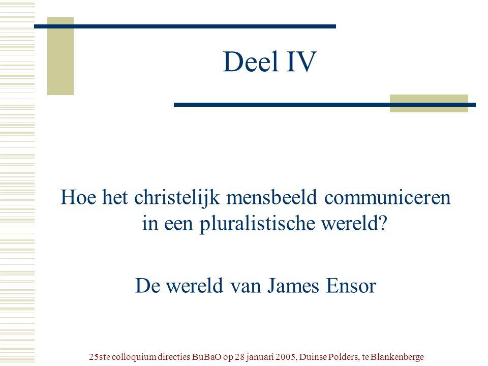 25ste colloquium directies BuBaO op 28 januari 2005, Duinse Polders, te Blankenberge Deel IV Hoe het christelijk mensbeeld communiceren in een plurali