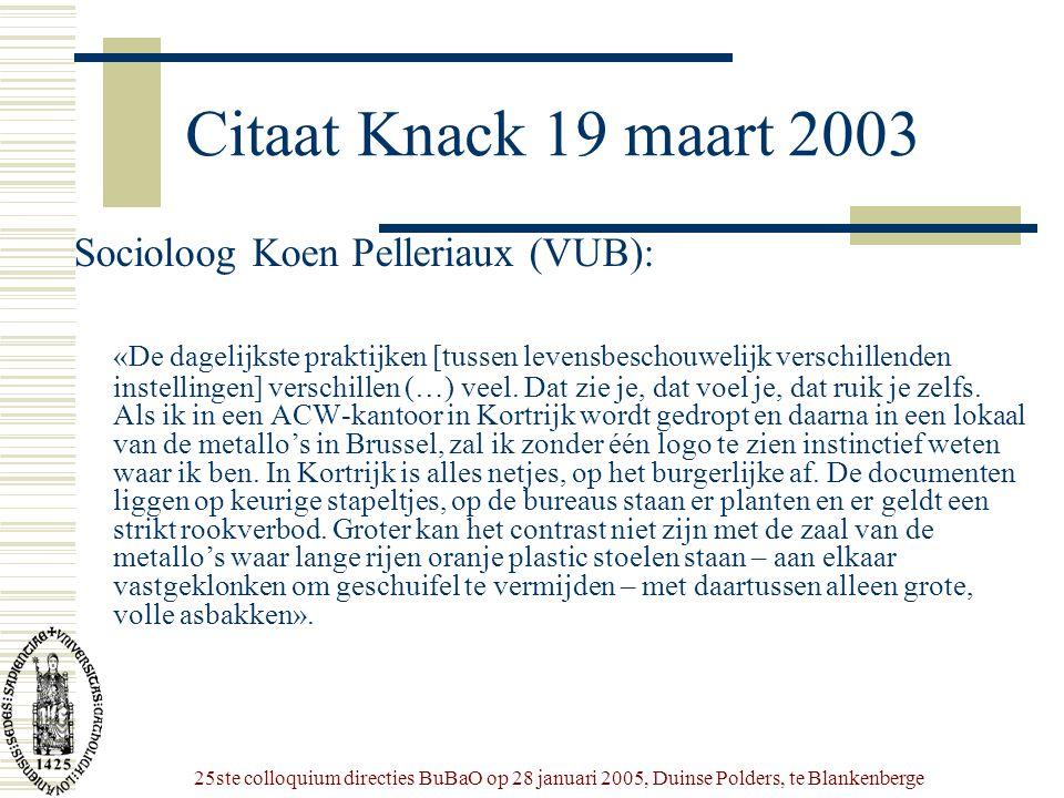 25ste colloquium directies BuBaO op 28 januari 2005, Duinse Polders, te Blankenberge Citaat Knack 19 maart 2003 Socioloog Koen Pelleriaux (VUB): «De d