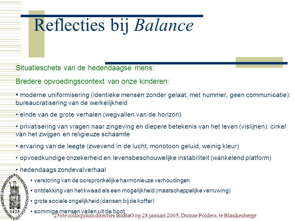 25ste colloquium directies BuBaO op 28 januari 2005, Duinse Polders, te Blankenberge Reflecties bij Balance Situatieschets van de hedendaagse mens: Br