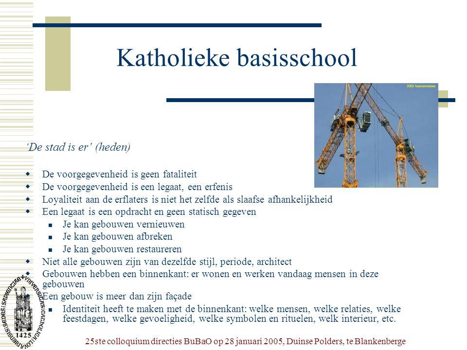 25ste colloquium directies BuBaO op 28 januari 2005, Duinse Polders, te Blankenberge Katholieke basisschool 'De stad is er' (heden)  De voorgegevenhe