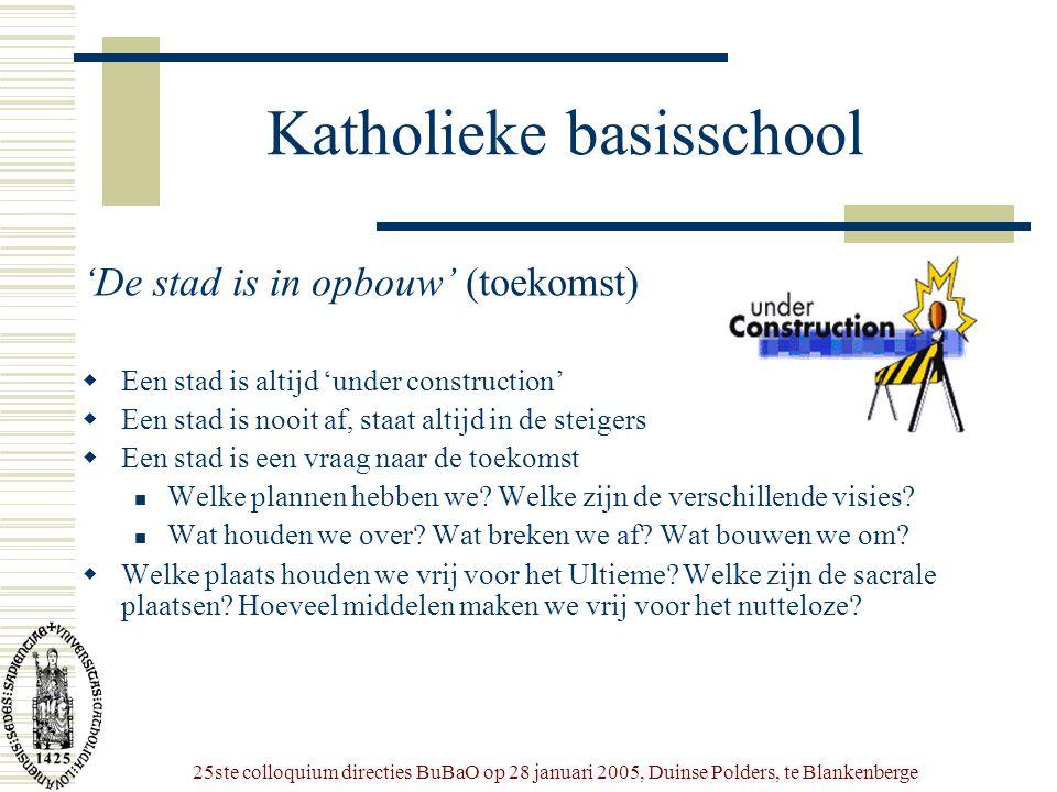25ste colloquium directies BuBaO op 28 januari 2005, Duinse Polders, te Blankenberge Katholieke basisschool 'De stad is in opbouw' (toekomst)  Een st