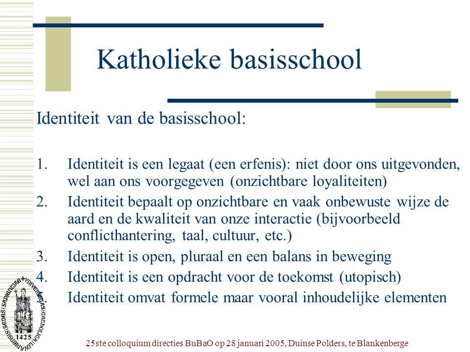 25ste colloquium directies BuBaO op 28 januari 2005, Duinse Polders, te Blankenberge Katholieke basisschool Identiteit van de basisschool: 1.Identitei