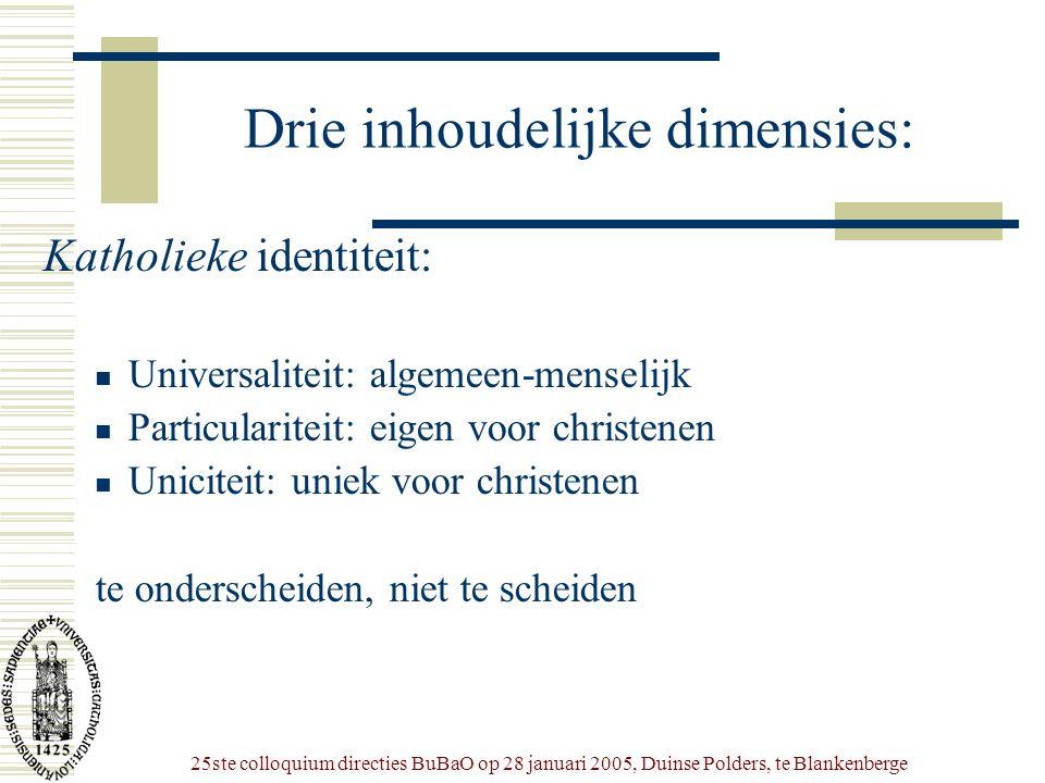 25ste colloquium directies BuBaO op 28 januari 2005, Duinse Polders, te Blankenberge Drie inhoudelijke dimensies: Katholieke identiteit:  Universalit