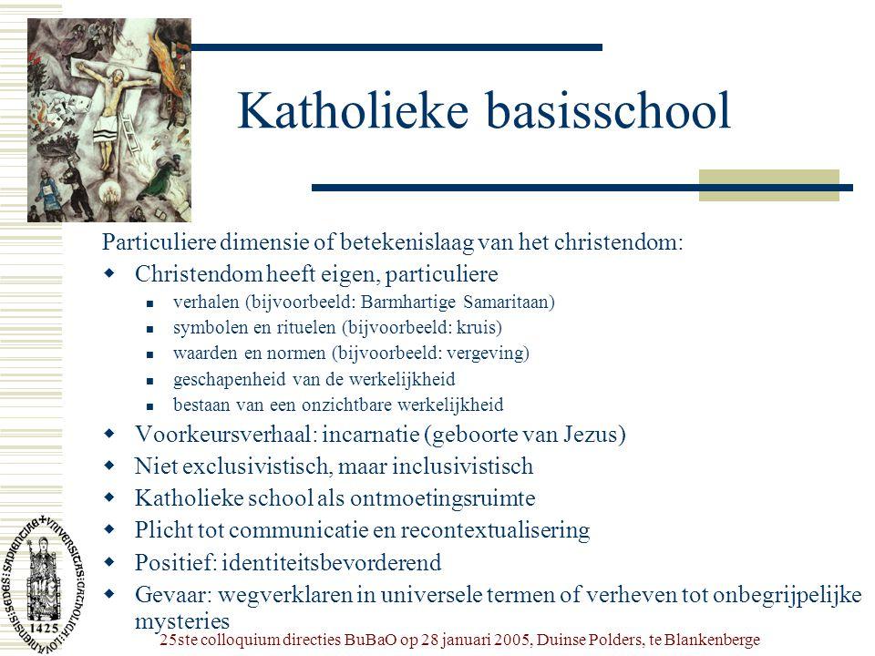 25ste colloquium directies BuBaO op 28 januari 2005, Duinse Polders, te Blankenberge Katholieke basisschool Particuliere dimensie of betekenislaag van
