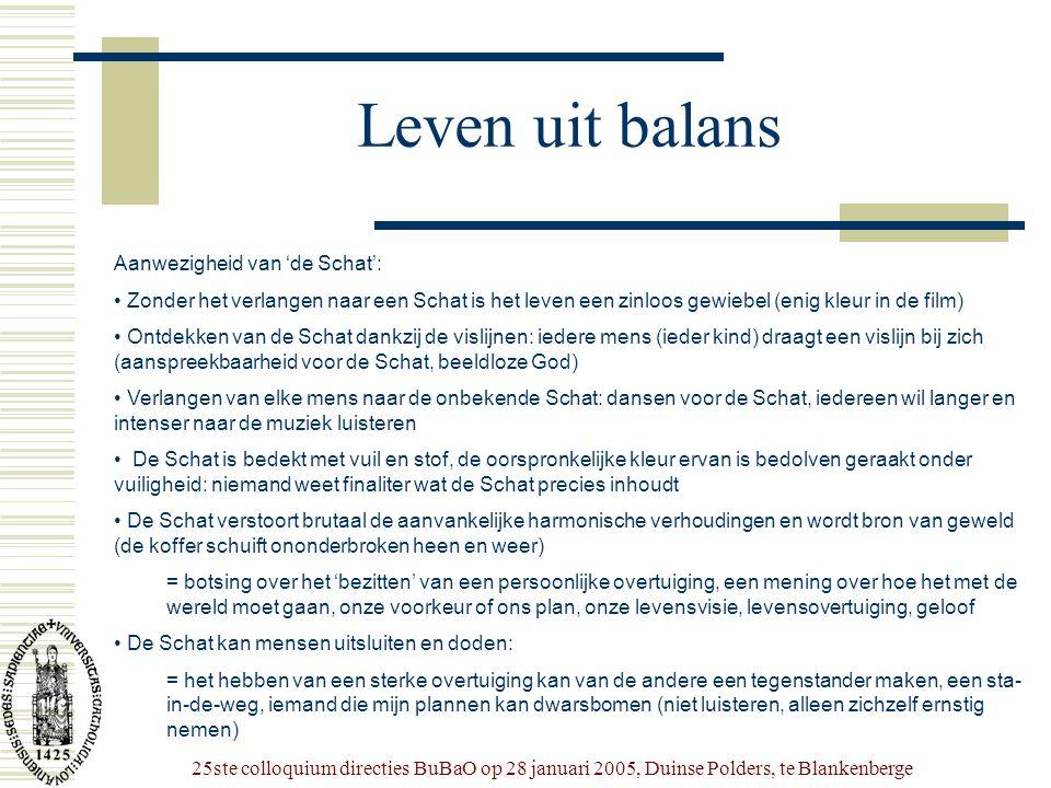 25ste colloquium directies BuBaO op 28 januari 2005, Duinse Polders, te Blankenberge Leven uit balans Aanwezigheid van 'de Schat': • Zonder het verlan