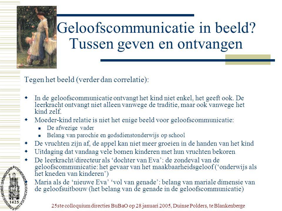 25ste colloquium directies BuBaO op 28 januari 2005, Duinse Polders, te Blankenberge Geloofscommunicatie in beeld? Tussen geven en ontvangen Tegen het