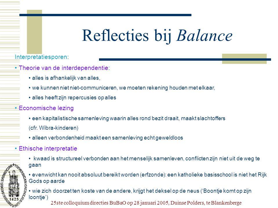 25ste colloquium directies BuBaO op 28 januari 2005, Duinse Polders, te Blankenberge Reflecties bij Balance Interpretatiesporen: • Theorie van de inte